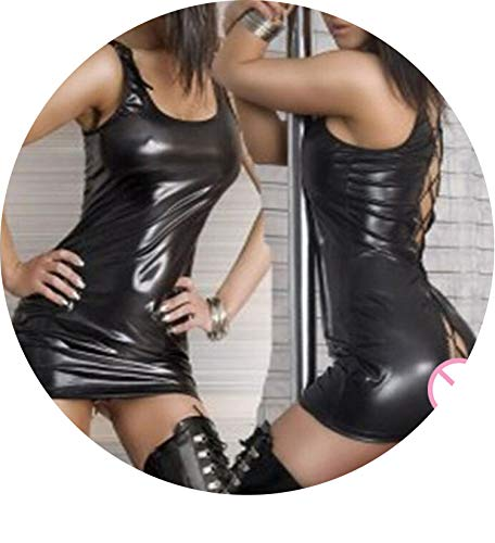 love enjoy Sexy Pole Dance Mini Dress Clubwear Leather Nightclub Erotic Fetish Lace Back Party Dress,XXL -