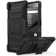 Sony Xperia Z5 Case, MoKo Shock Absorbing Hard Cover Ultra Protective Heavy Duty Case with Holster Belt Clip + Built-in Kickstand for Sony Xperia Z5 5.2 Inch (2015) - Black