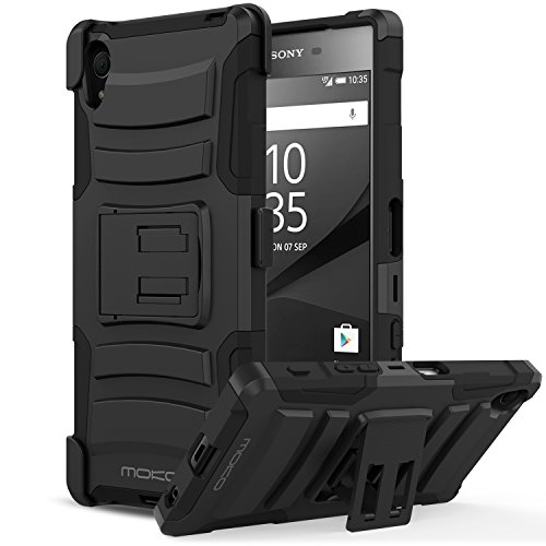Price comparison product image Sony Xperia Z5 Case, MoKo Shock Absorbing Hard Cover Ultra Protective Heavy Duty Case with Holster Belt Clip + Built-in Kickstand for Sony Xperia Z5 5.2 Inch (2015) - Black