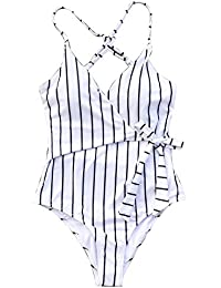 Fashion Stay Young Stripe One-Piece Swimsuit Beach Swimwear Bathing Suit