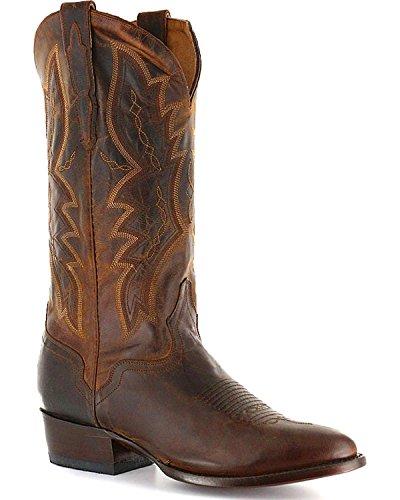 El Dorado Men's Handmade Distressed Goat Cowboy Boot Round Toe Brown 8.5 D(M) US Distressed Goat Cowboy Boots