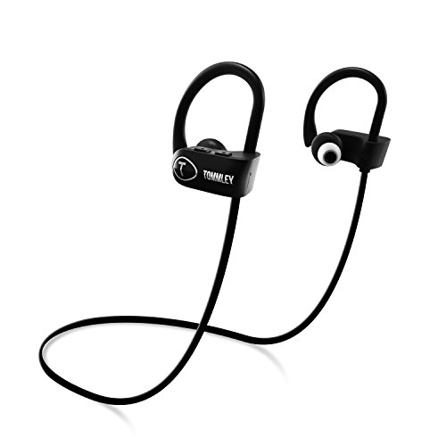 Tommley Bluetooth Headphones, Durable IPX7 Waterproof Sports Earphones w/Mic, HD Sound w/Bass, Secure Comfort Fit Earbuds for Running, Noise Cancelling Sweatproof Headsets, 8 hrs Playtime