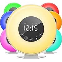 hOmeLabs Sunrise Alarm Clock Digital LED Clock with 6 Color Switch and FM Radio for Bedrooms