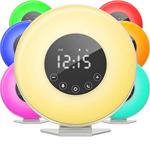 hOmeLabs Sunrise Alarm Clock - Digital LED Clock with 6 Color Switch and FM Radio for Bedrooms - Multiple Nature Sounds Sunset Simulation & Touch Control - with Snooze Function for Heavy Sleepers ()