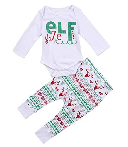 Douhoow Toddler Baby Boys Girls Christmas Santa Claus Deer Print Costume Long Sleeve Letter Romper Pants Bodysuit Outfit (0-6M, White-3)