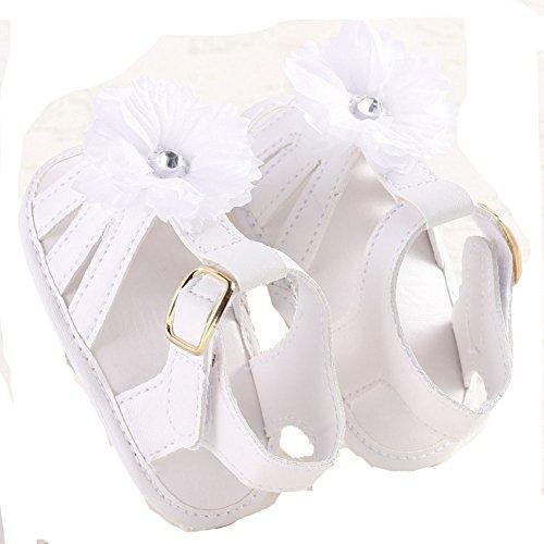 etrack-online recién nacido Niñas Blanco PU piel flor para cuna suave suela plana sandalias blanco blanco Talla:12-18months blanco