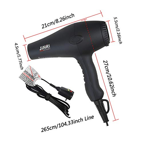 1875W Professional Tourmaline Hair Dryer,Salon Negative Ionic Hair Blow Dryer, DC Motor Light Weight Low Noise Hair Dryers with Diffuser & Concentrator, Black by Vtakol (Image #5)