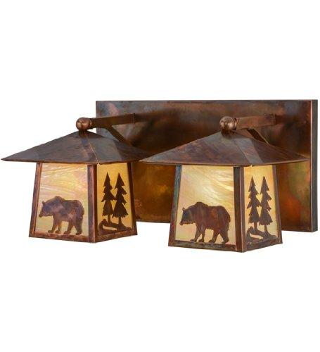 (22 in. Pine Tree and Bear 2-Light Vanity Light)