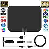 TV Antenna, Indoor HD Digital TV Antenna with Detachable 50 Miles Long Range Amplifier HDTV Signal Booster Upgraded Version-10ft Copper Coax Cable for TV with Better Reception 4K Ready