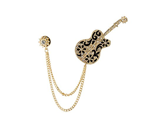 Knighthood Men's Gold Swarovski Guitar with Sunshine and Hanging Chain Brooch -