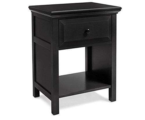 Mantua Victoria Wood Nightstand - Traditional and Classic Solid Wood Nightstand for Bedside Essentials in a Beautiful Ebony Finish - Model NSCE
