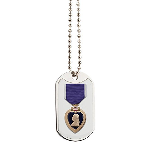 Medal Heart Military (CafePress - Purple Heart - Military Style Dog Tag, Stainless Steel with Chain)