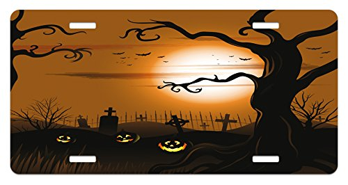 Ambesonne Halloween License Plate, Leafless Creepy Tree with Twiggy Branches at Night in Cemetery Graphic Drawing, High Gloss Aluminum Novelty Plate, 5.88