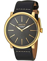 Invicta Mens I-Force Quartz Stainless Steel and Leather Casual Watch, Color:Black (Model: 22933)