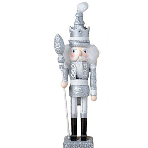 ZaH 18 Inch Wooden Nutcracker Ornaments Christmas Decorations Holiday Decor Kids Toys Nutcracker Puppets, Silver King by ZaH