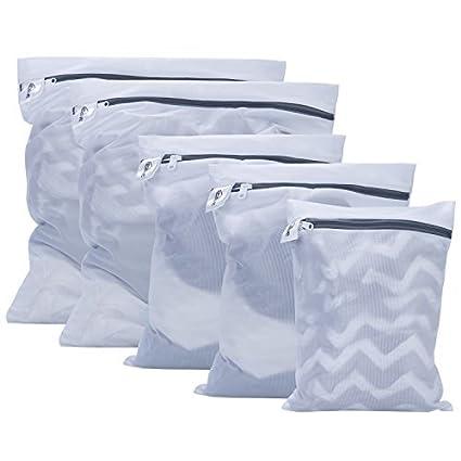 Bolsas de lavandería, Kealive 5 Pcs Bolsas para la colada De lavado de alta resistencia y más limpio con cremallera, Blanco (Large * 2, Medium * 2, ...