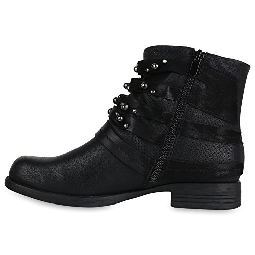 Stiefelparadies Damen Biker Boots Stiefeletten Nieten Booties Leder-Optik Schuhe Flandell Schwarz