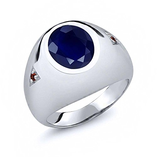 Gem Stone King 5.08 Ct Oval Blue Sapphire Red Garnet 925 Sterling Silver Men's Ring (Size 9) ()