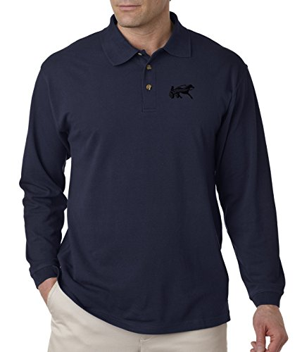- Horse Coach Race Embroidery Design Adult Button-End Spread Long Sleeve Unisex Cotton Polo Jersey Shirt Golf Shirt - Navy, 3X Large