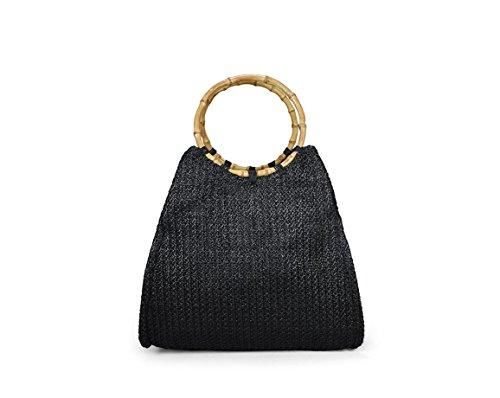 Bosanova Bolso De Mano En Rafia Con Asas De Bambú. Bosanova Raffia Handbag With Bamboo Handles. Negro Black