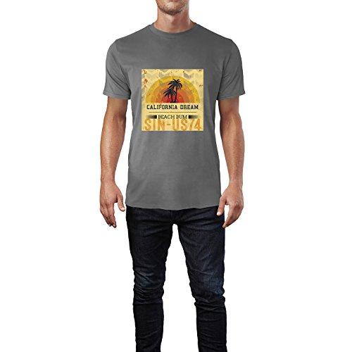 SINUS ART® Palmen Silhouette vor Sonnenuntergang Herren T-Shirts in Grau Charocoal Fun Shirt mit tollen Aufdruck