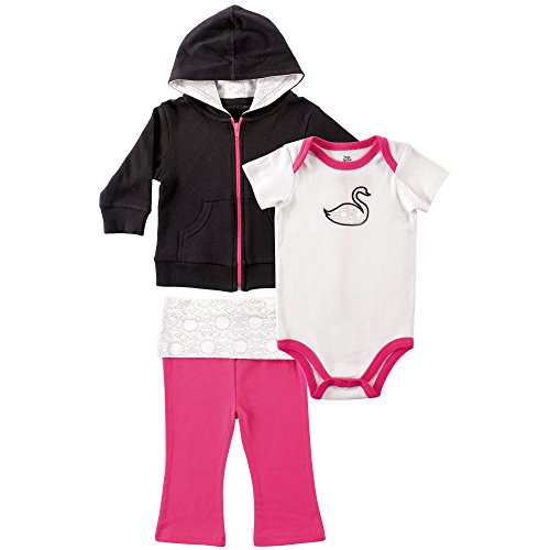 Infants Sprout - Yoga Sprout Infant 3 Piece Jacket, Top and Pant Set, Black/Pink, 6-9 Months