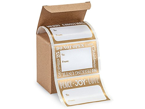 A1 Bakery Supplies 72 Count Trendy Peel N Stick Gold Metallic & White Christmas Gift Tags Stickers 4″ x 2″ Size Stickers