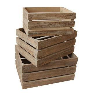 Red Hamper Oak Effect Slatted Wooden Storage Crate Set 3