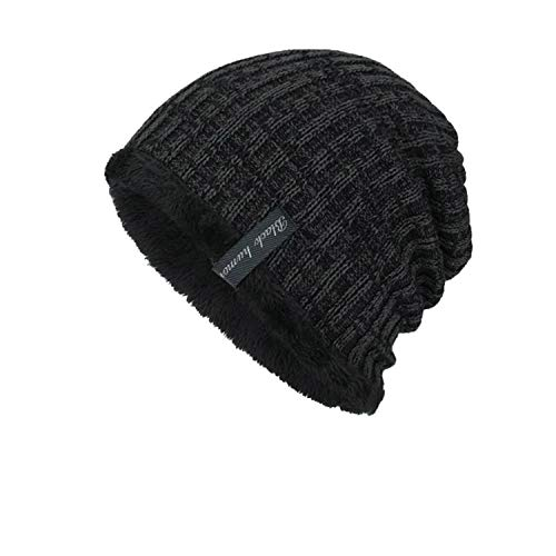 (FUZE Unisex Knit Cap Beanie Caps Winter Keep Warm Outdoor Hats Cashmere Casual Caps Black)