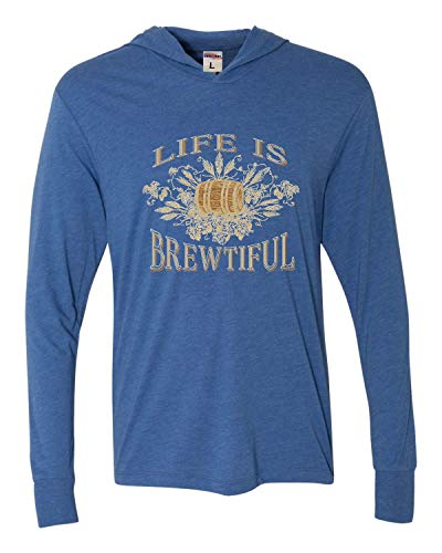 Go All Out X-Large Vintage Royal Adult Life is Brewtiful Beer Hops Homebrew Deluxe Triblend Hooded T-Shirt