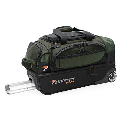 Pathfinder Gear 22 Inch Rolling Drop Bottom Duffel, Olive, One Size ()