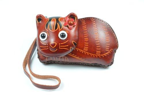 Niedlich glücklich Tiger Leather Brieftasche / Mini Tasche 12x 8 x 4 cm WbbFZCkL