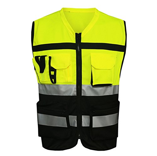 Sanitation Worker Costume (Hannah fit 7 Pockets Class 2 High Visibility Zipper Front Safety Vest With Reflective Strips.ANSI/ISEA Standards (XL))