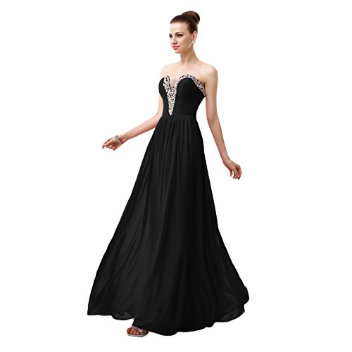 Black Chiffon Sweetheart Beading (BessWedding Sweetheart Black Beading Chiffon Prom Dresses Long Evening Gowns, 16)