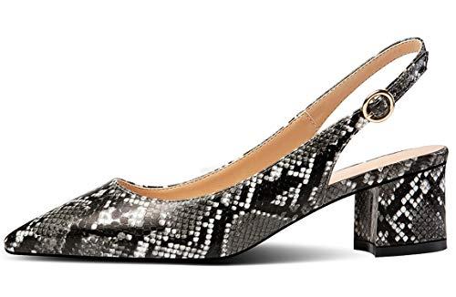 YODEKS Slingbacks Heels for Women Synthetic Leather Heels Slingback Pointed Toe Block Heel Pumps Ankle Buckle Chic Pumps, 2 inch Heel Height Snakeskin US7