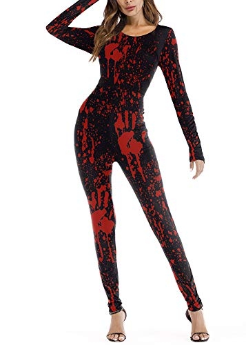 For G and PL Halloween Costume Women's Outfit Skeleton Long Sleeve Jumpsuit Bodycon Streth X-ray Catsuit Blood L for $<!--$17.99-->