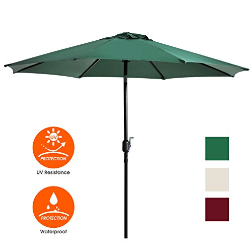 Cheap UHINOOS 9 ft Patio Umbrella,Outdoor Umbrella with Crank and 8 Ribs,100% Polyester Aluminum Alloy Pole Tilt Button Outside Table Umbrella.Fade Resistant Water Proof Patio Table Umbrella,Green