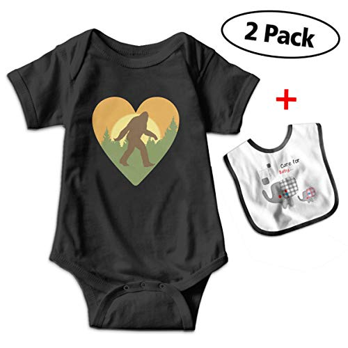Leopoldson Bigfoot Heart Baby Boys' Short Sleeve Bodysuits