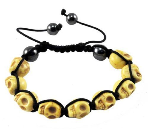 Skull Prayer Beads (Tibetan Yellow Prayer Beads Skull Bracelet Wrist Mala Shamballa Bracelet)