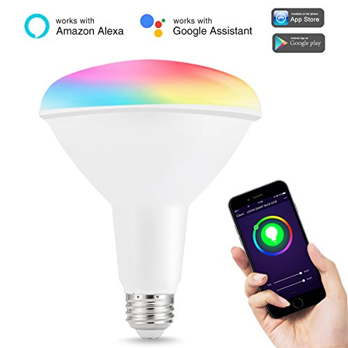 LOHAS Smart Bulb, Wi-Fi BR40 Flood Light, 100-150 Watt Equivalent(15W), Multicolor (2000K-9000K), Dimmable Daylight LED Bulbs, 1450 Lumens, Recessed Lighting Floodlight, Alex Lights, No Hub Required