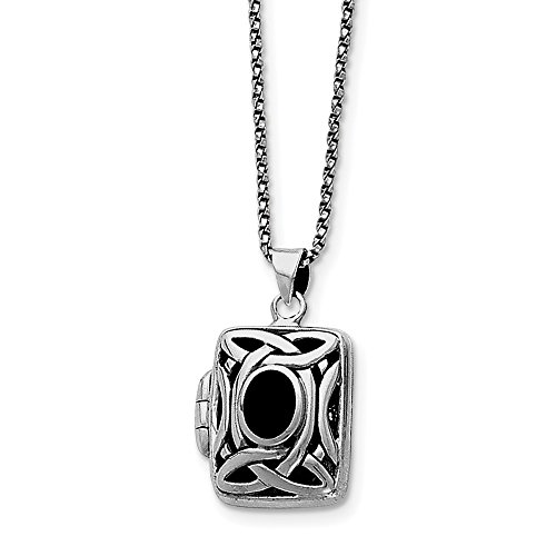 Sterling Silver Polished Rhodium-plated Antique finish Simulated Onyx Marcasite Square Locket Chain - 18 Inch - Spring ()