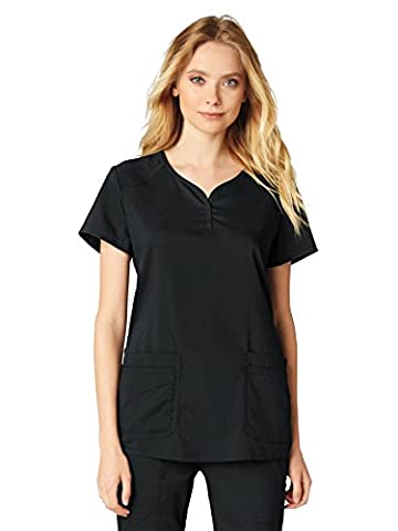 Koi Lite Women's Gratitude Sweetheart Neck Solid Scrub Top X-Large Black - Sweetheart Neck Top