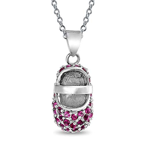 Pink Fuchsia Pave CZ Baby Shoe Mary Jane Style Pendant Charm Simulated Ruby Cubic Zirconia 925 Sterling Silver 18 Inch
