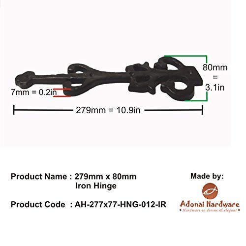 Adonai Hardware 279mm x 80mm x 7mm Iron False Hinge Front(Supplied as one piece)