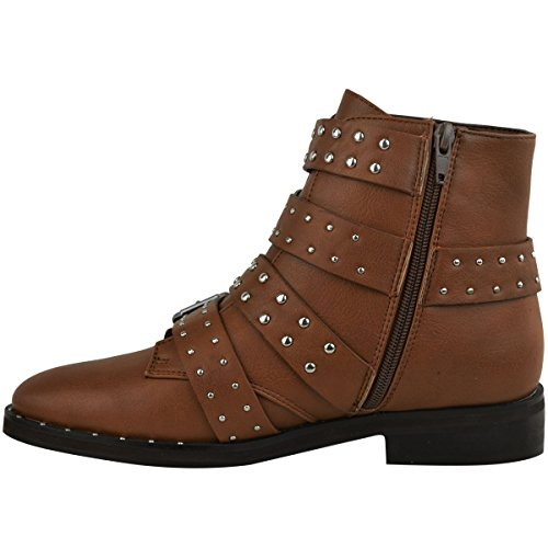 Fashion Thirsty Womens Ladies Studded Flat Ankle Boots Strappy Biker Buckles Amelia New Size Tan Brown Faux Leather / Silver Studs vLMQj65nnd