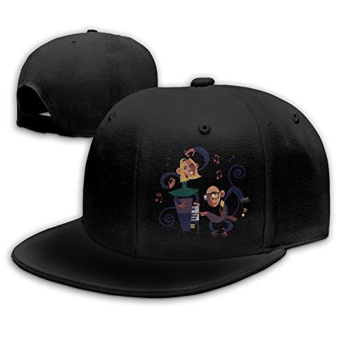 - Sakanpo Anime Music Flat Visor Baseball Cap, Fashion Snapback Hat Black