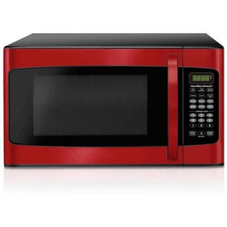Hamilton Beach 1.1 cu ft, 10 power levels, LED display, 1000W, Microwave oven, Red,10 power levels, 6 quick set menu buttons (Red)