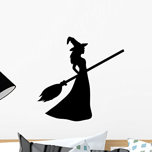 Wallmonkeys Silhouette Young Witch Wall Decal Peel Stick Graphic (18 in H x 18 in W) WM363049
