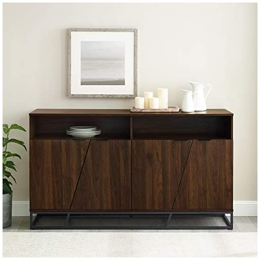 Kitchen 58″ Angled Door Sideboard – Dark Walnut modern buffet sideboards
