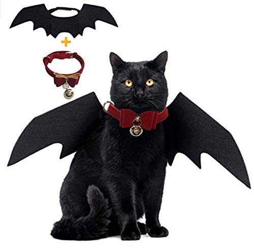 Cat Bat Wing Halloween Bat Wings Pet Costumes Pet Apparel for Small Dogs and Cats with Collar Bells ()